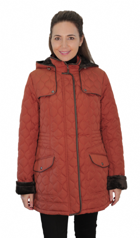 Womens ❤️Plus❤️ Fleece Lined Hooded Quilted Rust Coat db218